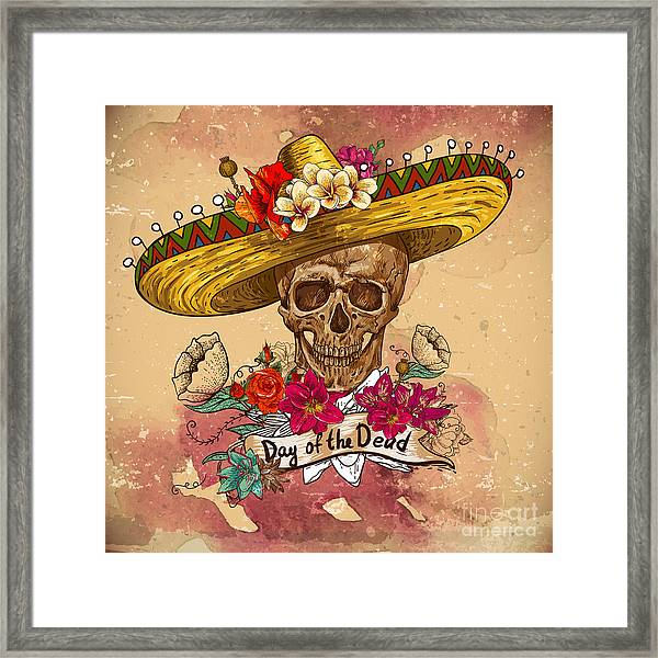 Skull In Sombrero With Flowers Day Of Framed Print