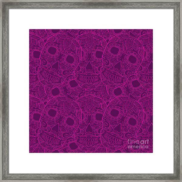 Skulls Seamless Pattern Framed Print