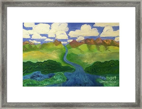 Sky River To Sea Framed Print