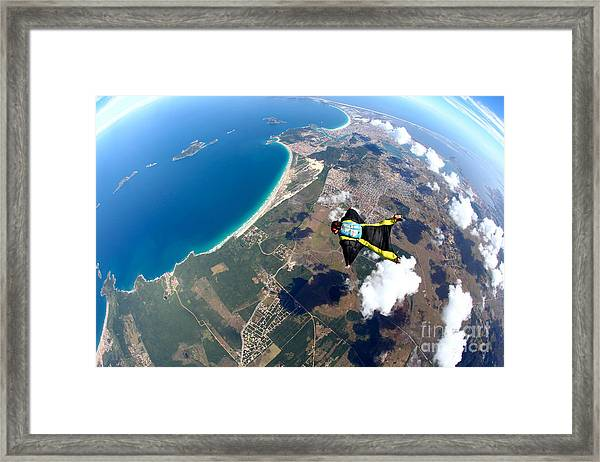 Skydive Wing Suit Over Brazilian Beach Framed Print