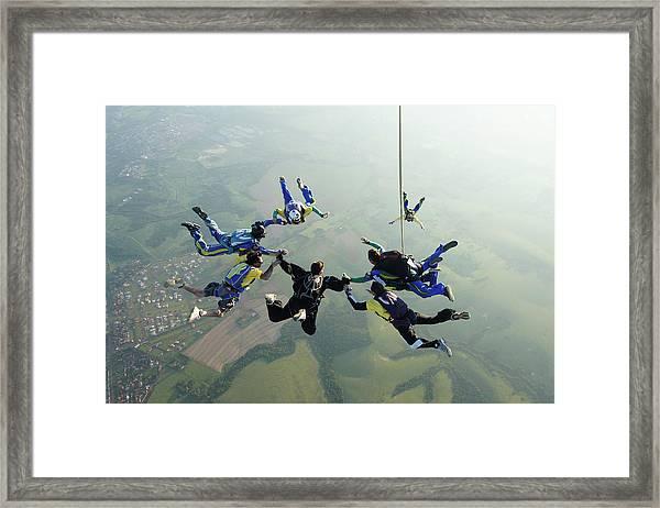 Skydiving Tandem Formation Group Framed Print