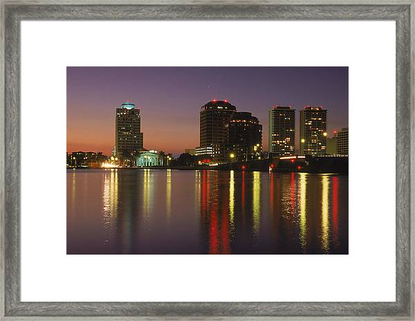 Skyline And Water, West Palm Beach, Fl Framed Print