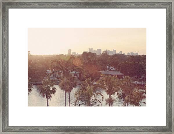 Skyline At Sunset Of Fort Lauderdale Framed Print