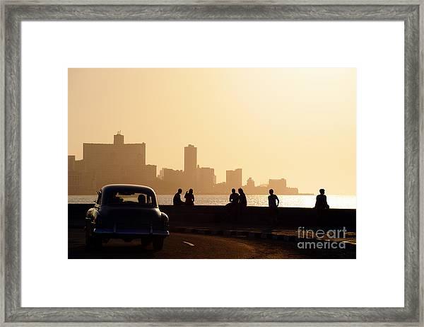 Skyline In La Habana, Cuba, At Sunset Framed Print