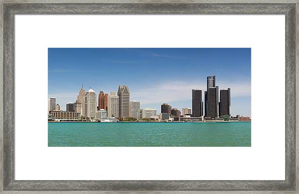 Skyline Of Detroit By Day Framed Print