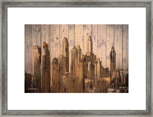 Skyline Of Dubai, Uae On Wood Framed Print