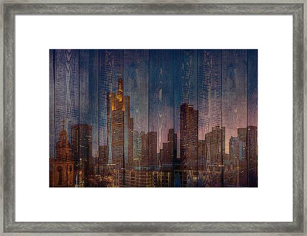Skyline Of Frankfurt, Germany On Wood Framed Print