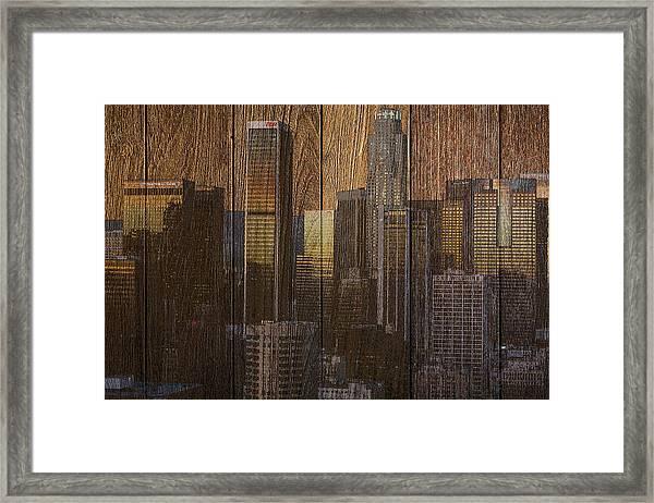 Skyline Of Los Angeles, Usa On Wood Framed Print