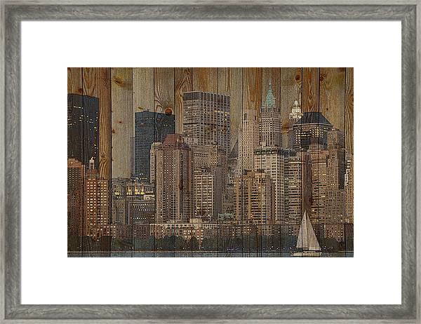 Skyline Of New York, Usa On Wood Framed Print