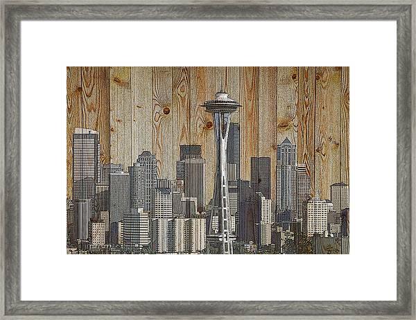 Skyline Of Seattle, Usa On Wood Framed Print