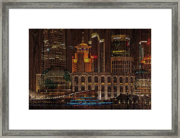 Skyline Of Shanghai, China On Wood Framed Print