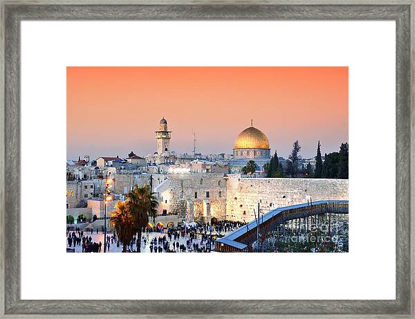 Skyline Of The Old City At He Western Framed Print