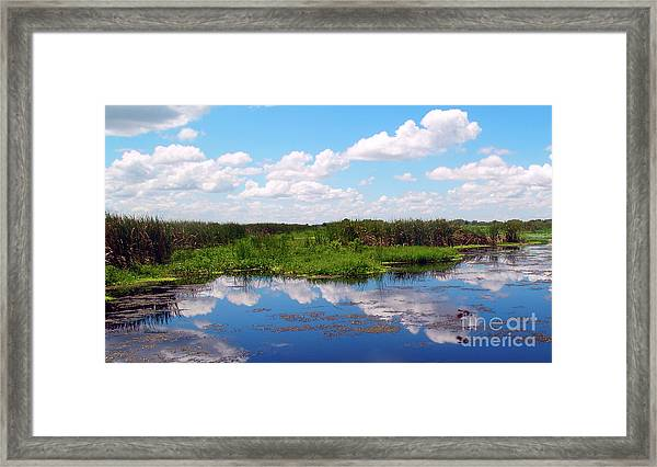 Skyscape Reflections Blue Cypress Marsh Near Vero Beach Florida C6 Framed Print