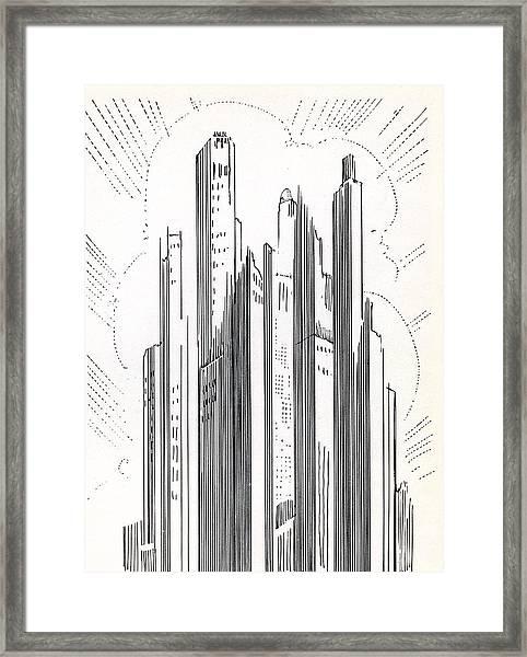 Skyscrapers In American City Framed Print