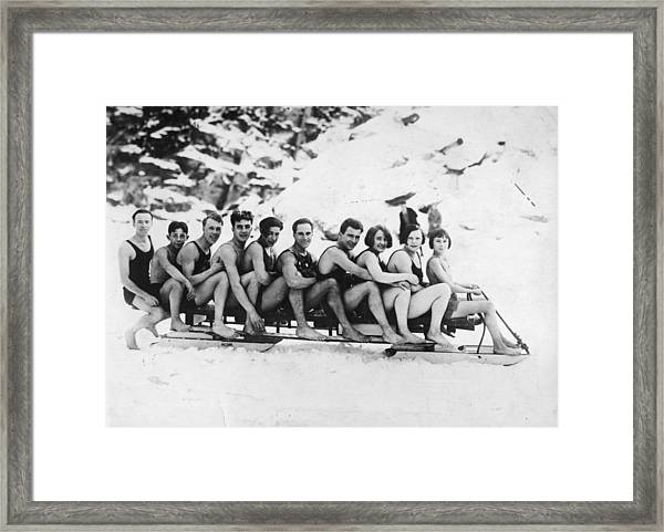 Sledging Framed Print by General Photographic Agency