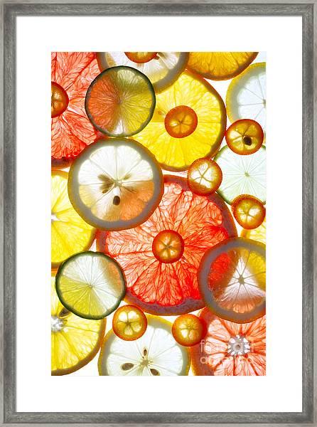 Sliced Citrus Fruits Background Framed Print