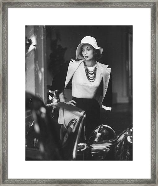 Slouch Hat In Garbo Tradition Made Of Wh Framed Print by Gordon Parks