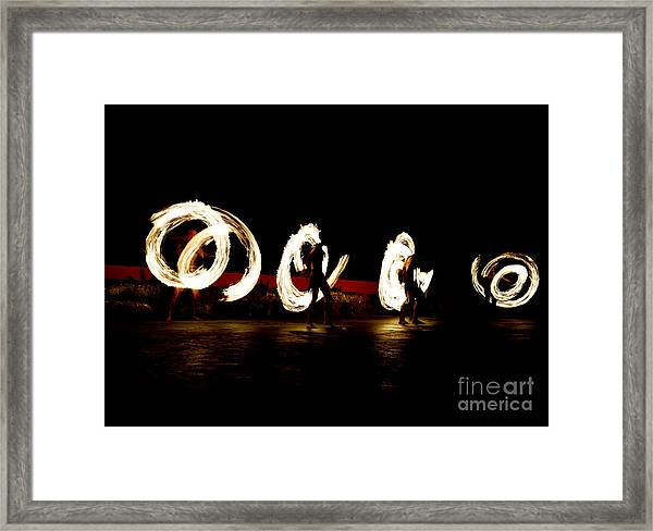 Slow Shutter Speed Of Fire Show Framed Print by The Sun Photo