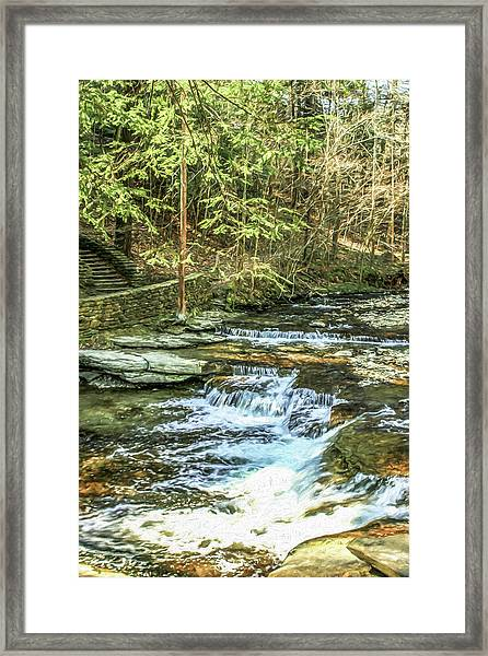 Small Waterfall In Creek And Stone Stairs Framed Print