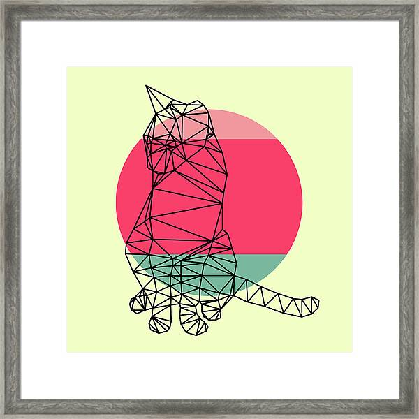 Smart Cat And Sunset Framed Print