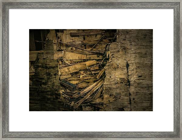 Framed Print featuring the photograph Smashed Wooden Wall by Juan Contreras
