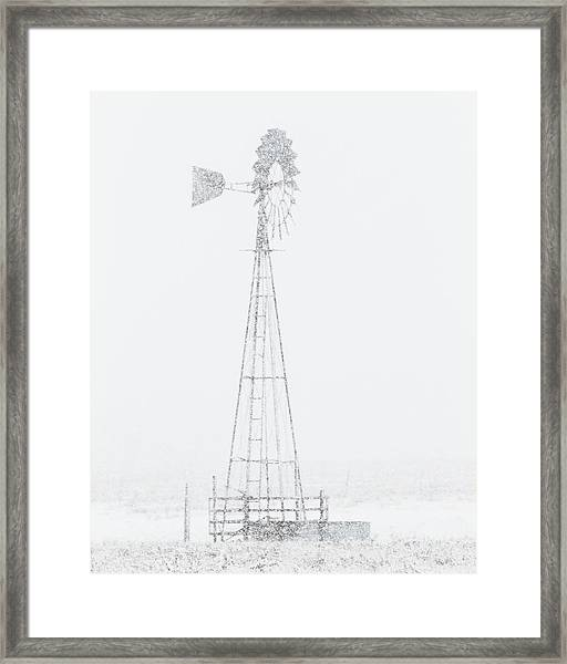 Framed Print featuring the photograph Snow And Windmill 04 by Rob Graham