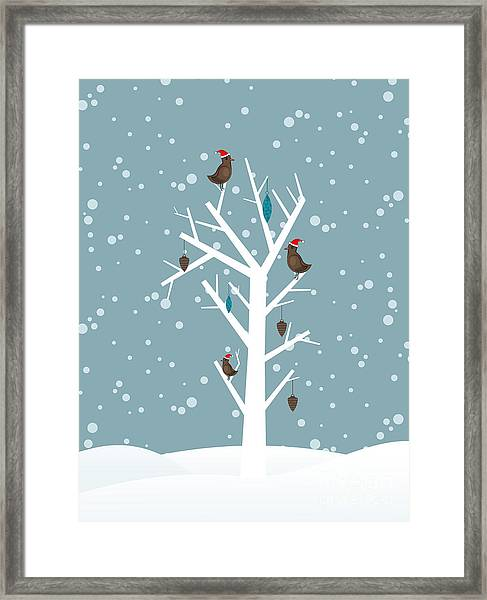 Snow Fall Background With Birds Sitting Framed Print