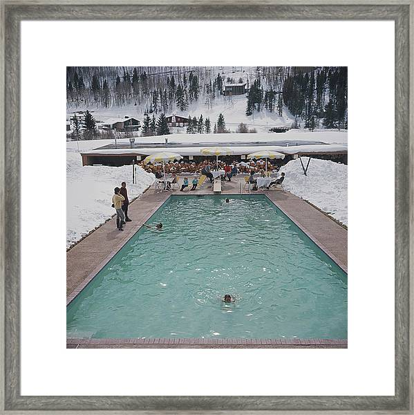 Snow Round The Pool Framed Print