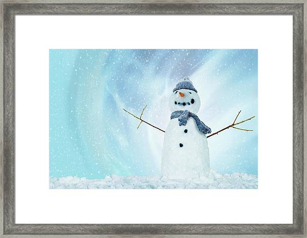 Snowman With Arms Open Framed Print