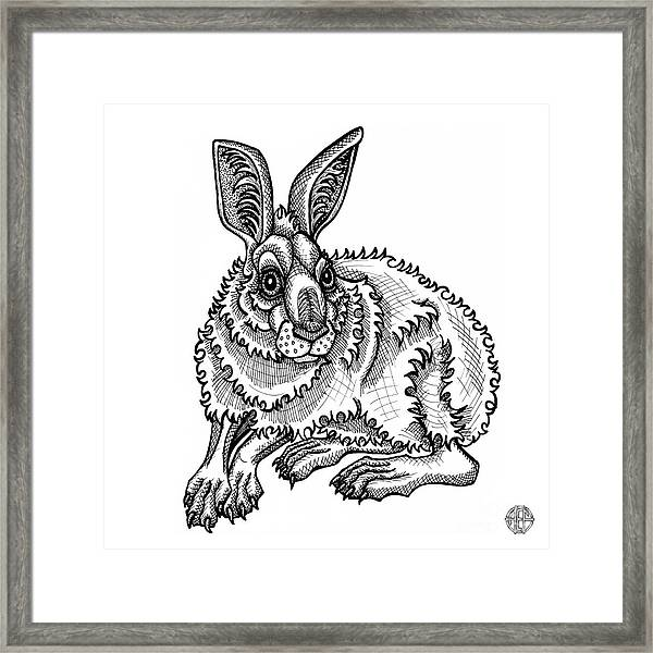 Framed Print featuring the drawing Snowshoe Hare by Amy E Fraser