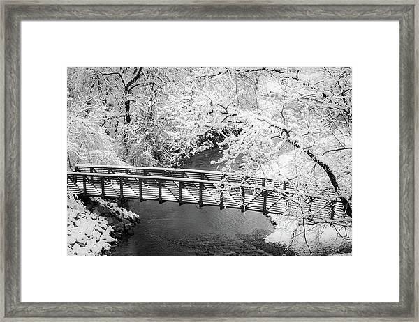 Snowy Bridge On Mill Creek Framed Print