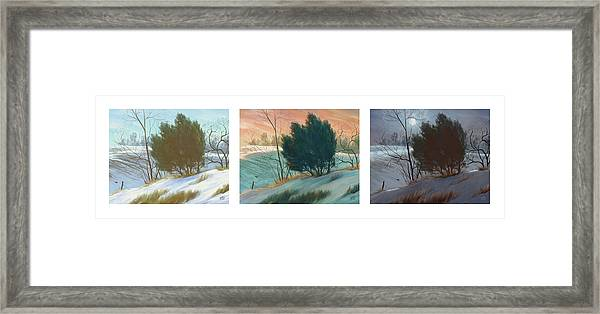 Snowy Day Triptych, Horizontal Framed Print
