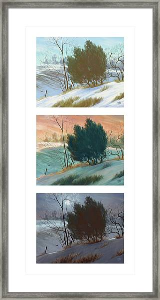 Snowy Day Triptych, Vertical Framed Print
