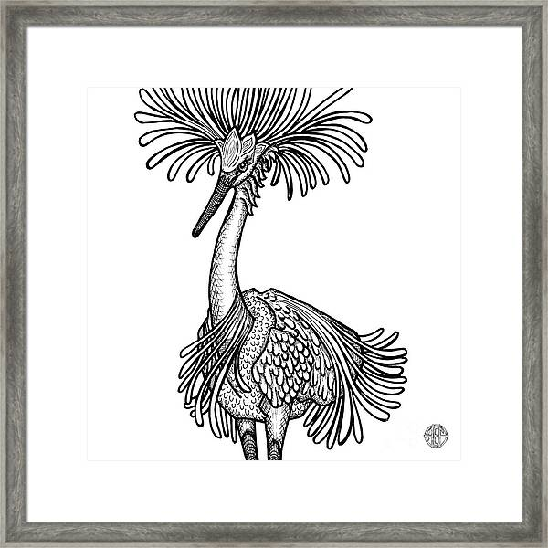 Framed Print featuring the drawing Snowy Egret by Amy E Fraser