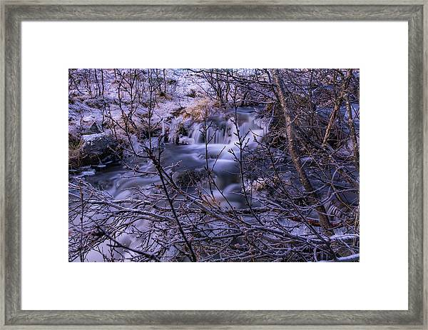 Snowy Forest With Long Exposure Framed Print