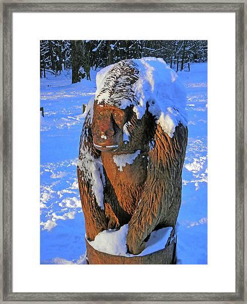 Snowy Gorilla Framed Print