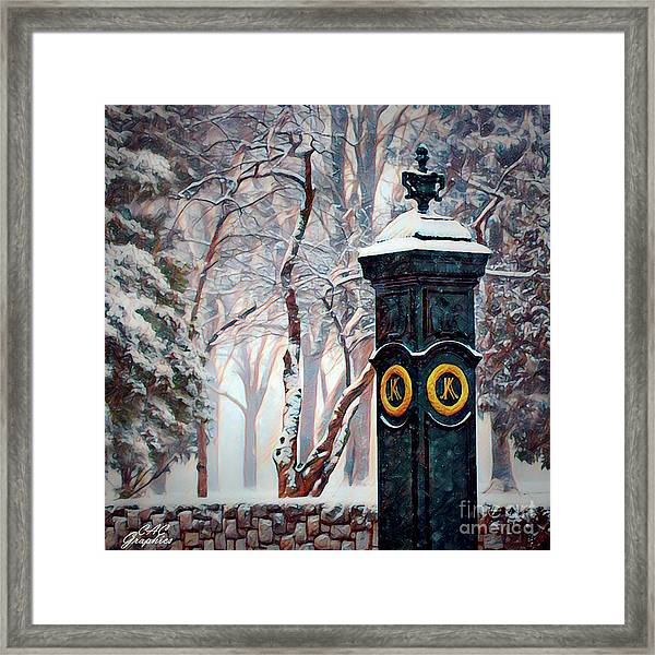 Snowy Keeneland Framed Print