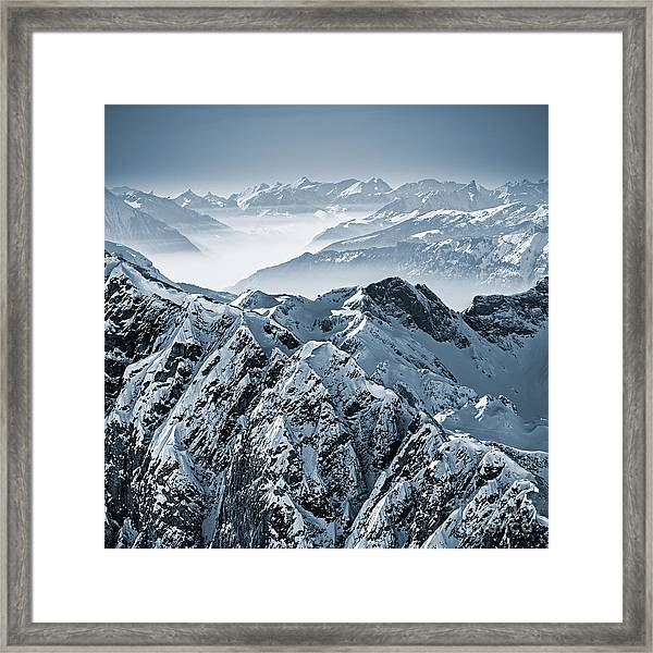 Snowy Mountains In The Swiss Alps. View Framed Print