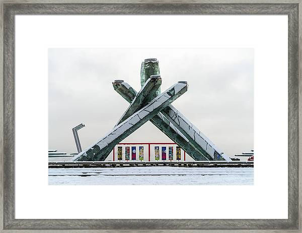 Snowy Olympic Cauldron Framed Print