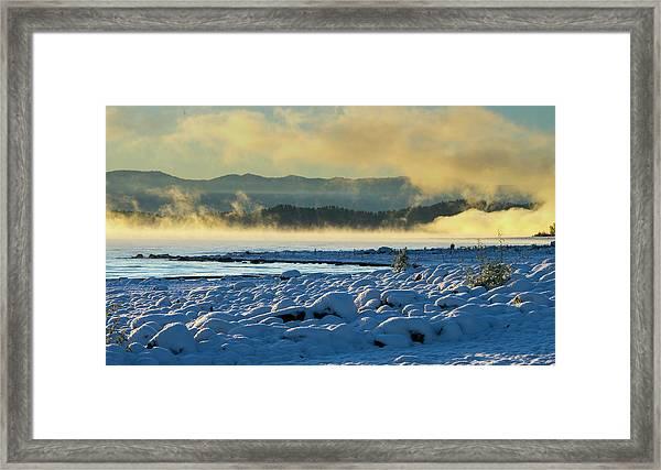 Snowy Shoreline Sunrise Framed Print