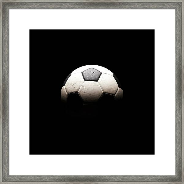 Soccer Ball In Shadows Framed Print