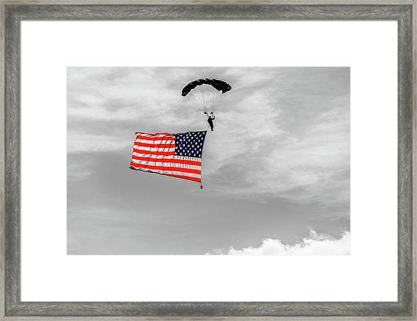 Socom Flag Jump In Selective Color Framed Print