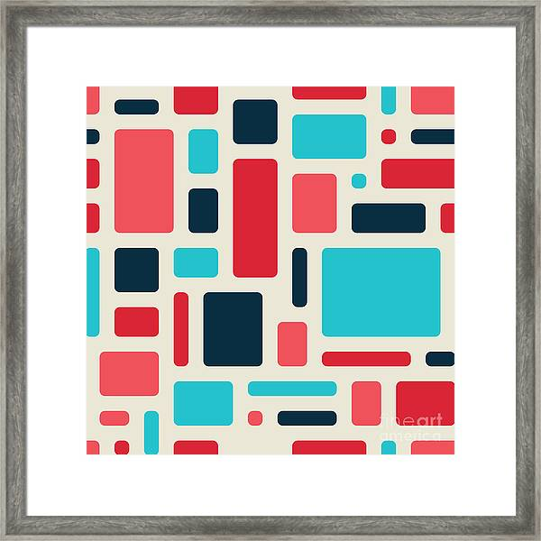 Soft Geometric Pattern In Retro Framed Print by Vector Fx