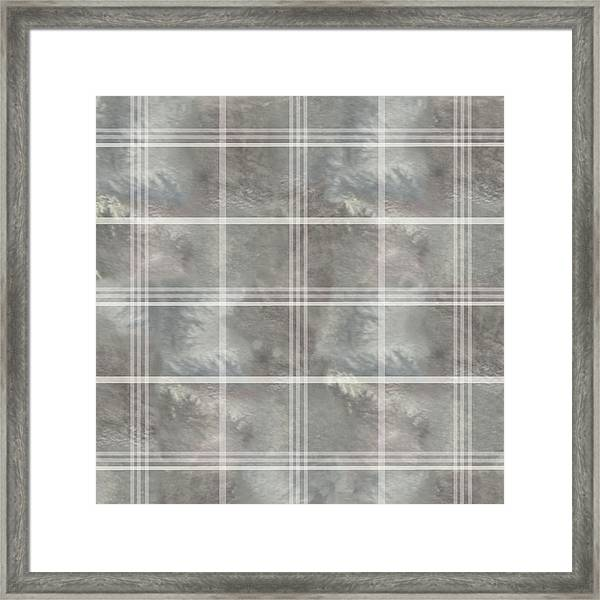 Soft Textured Cream And Blue Plaid Framed Print