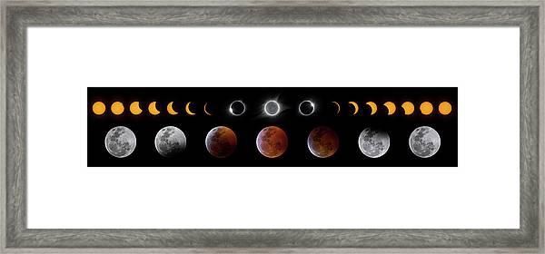 Solar And Lunar Eclipse Progression Framed Print