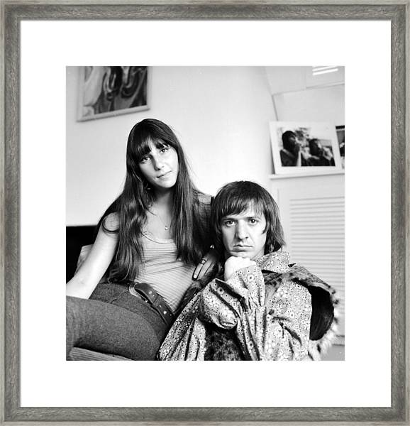 Sonny & Cher Portrait Session At Home Framed Print by Michael Ochs Archives