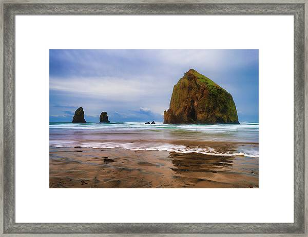 Framed Print featuring the photograph Soothing Stormy Seaside Waters by Dee Browning