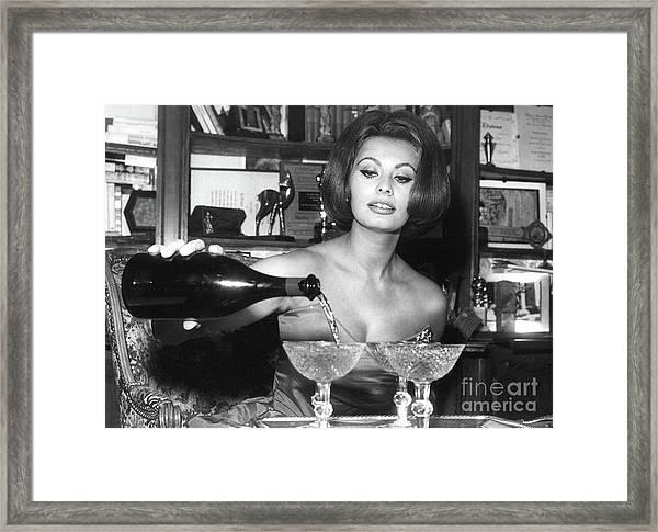 Sophia Loren, Coupe Champagne Glasses Framed Print