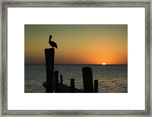 South Padre Island, Texas Sunset With Framed Print