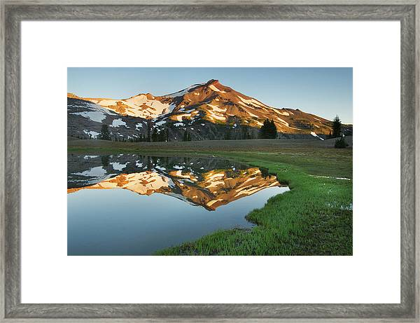 South Sister Lower Green Lake Oregon Framed Print